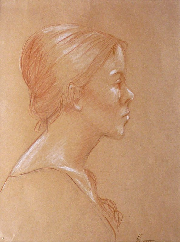 Portret - sepia, pastel Krystyna Linder-Kopiecka