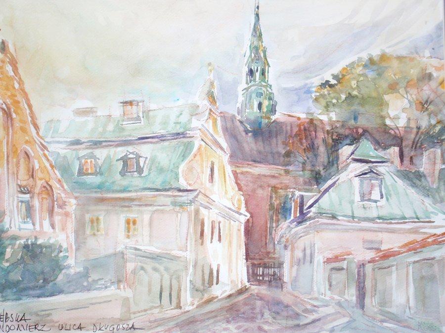 Sandomierz ulica Długosza - akwarela