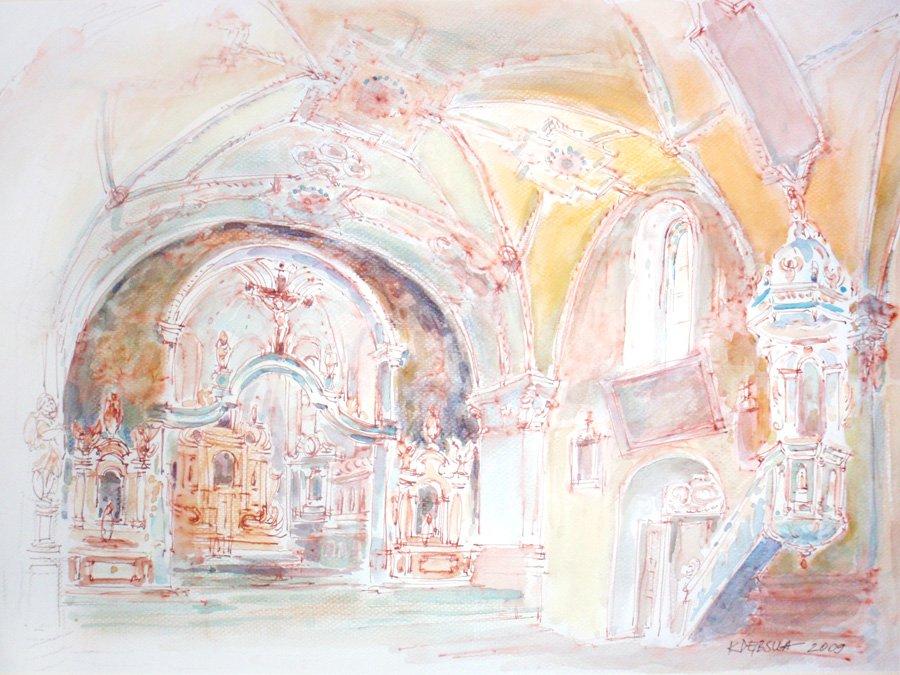 Sandomierz wnętrze kościoła św. Pawła - akwarela, tusz