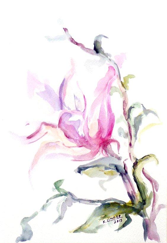 Kwiat - akwarela Krystyna Linder-Kopiecka