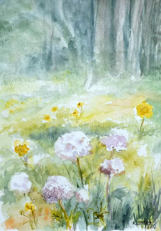 Kwiaty, łąka i las - akwarela Krystyna Linder-Kopiecka