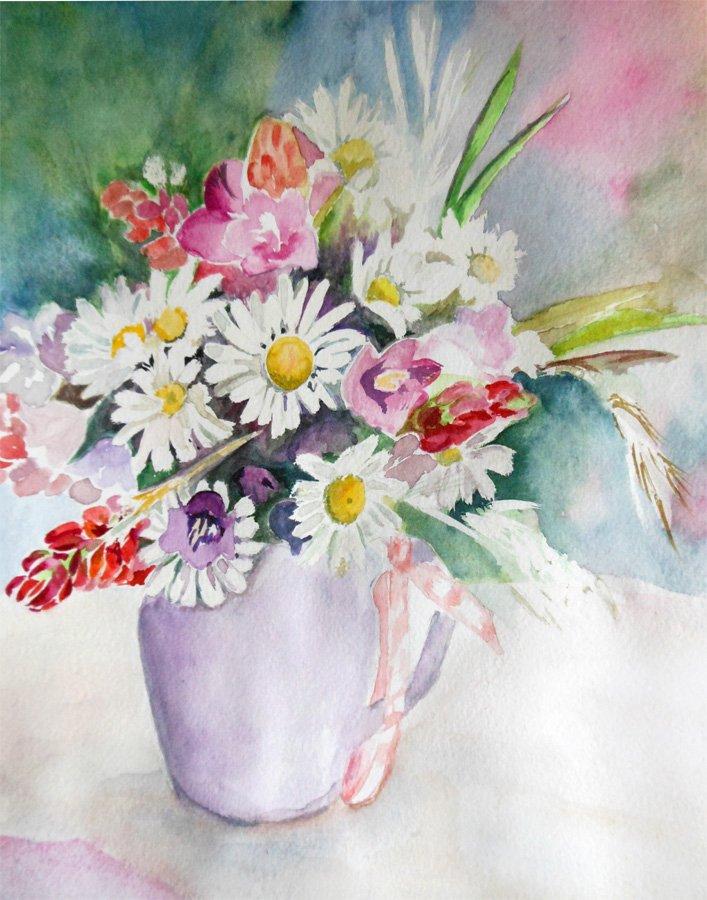 Bukiet kolorowych kwiatów - akwarela Iwona Łukanowska-Frankiewicz