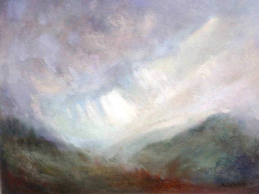 Deszczowe góry - obraz olejny