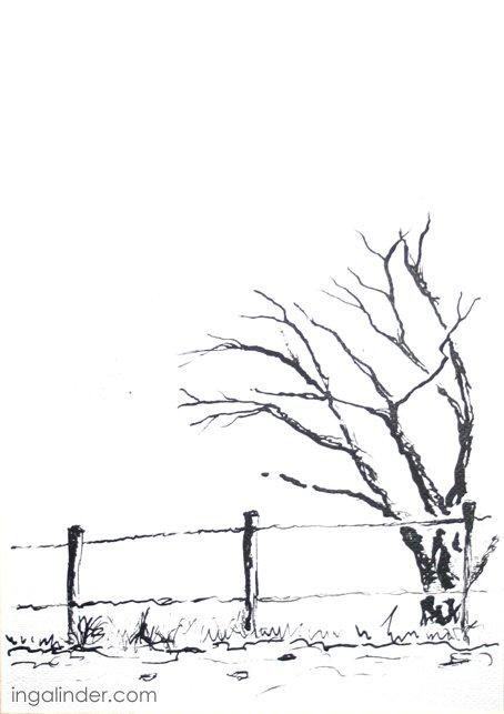 Drzewo - tusz Inga Linder-Kopiecka