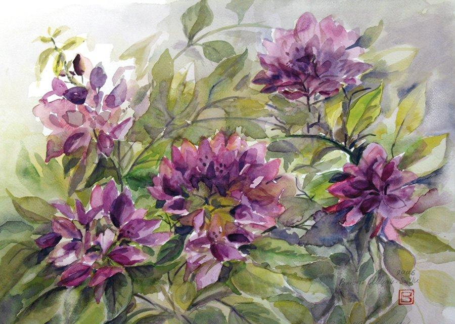 Fioletowe kwiaty - akwarela Barbara Młynik-Szilke