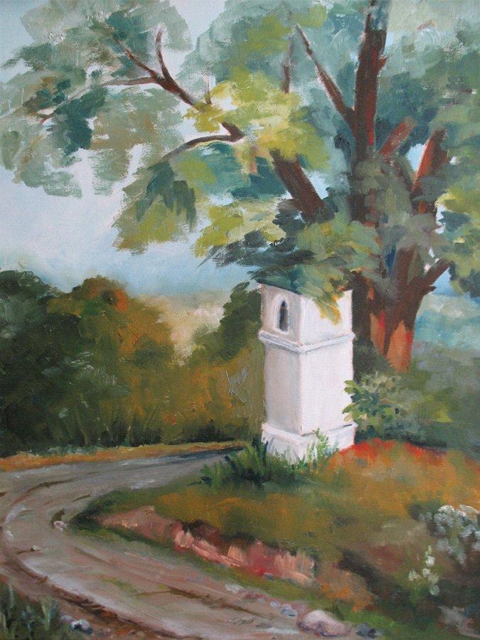 Kapliczka przy drodze - obraz olejny Iwona Łukanowska-Frankiewicz