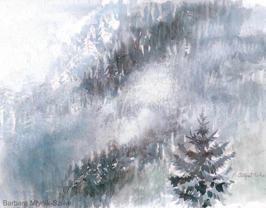 Krajobraz we mgle - akwarela Barbara Młynik-Szilke