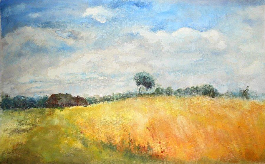 Krajobraz wiejski - obraz olejny Iwona Łukanowska-Frankiewicz