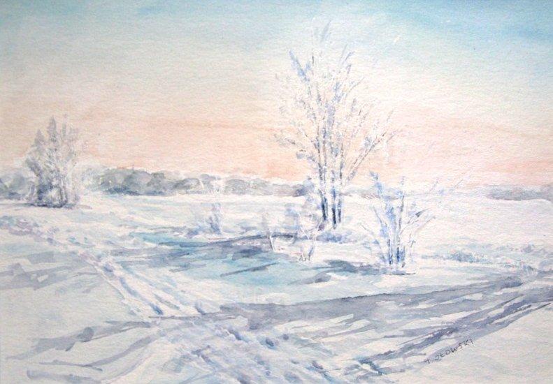 Krajobraz zimowy - akwarela Tadeusz Ołowski