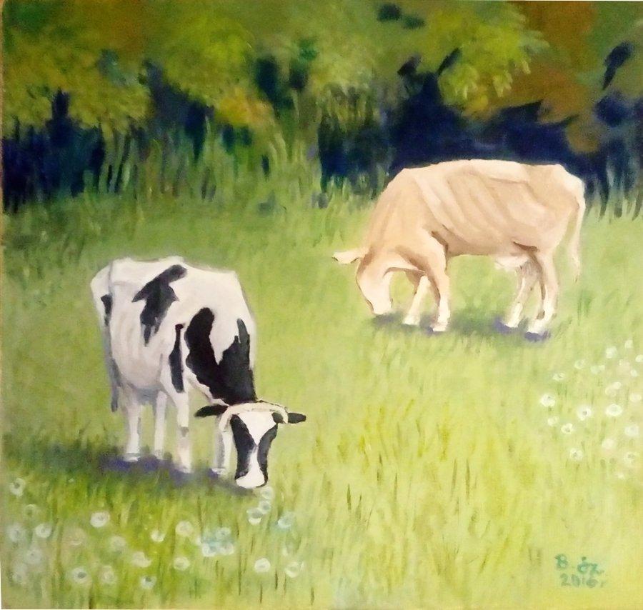 Krowy - obraz olejny Bożena Szenk