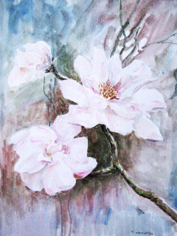 Kwiaty akwarela Tadeusz Ołowski