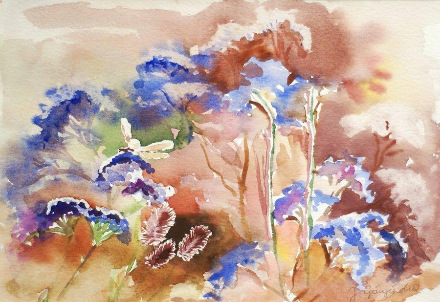 Kwiaty błękitne - akwarela
