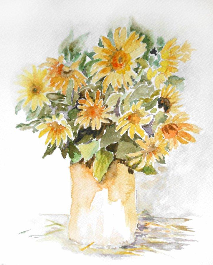 Kwiaty w wazonie - akwarela Iwona Łukanowska-Frankiewicz