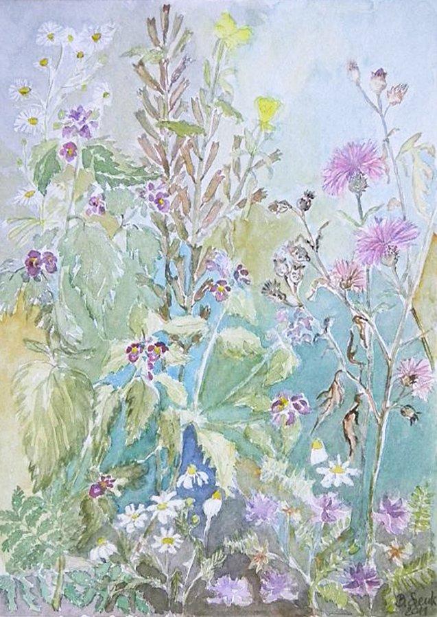 Łąka z kwiatami - akwarela Bożena Szenk