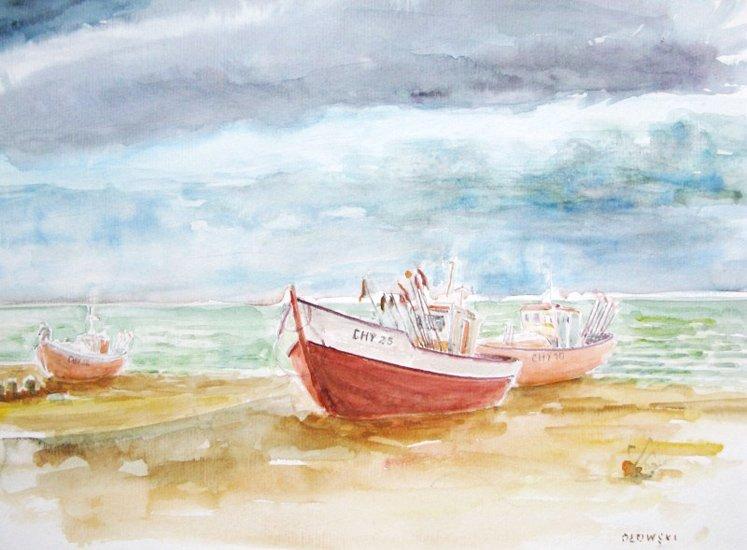 Łódki nad morzem - akwarela Tadeusz Ołowski