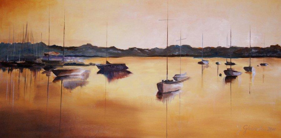 Łódki - obraz olejny