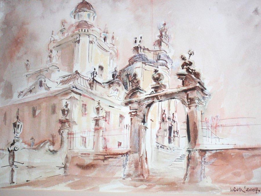 Lwów kościół św.Jura - akwarela, tusz