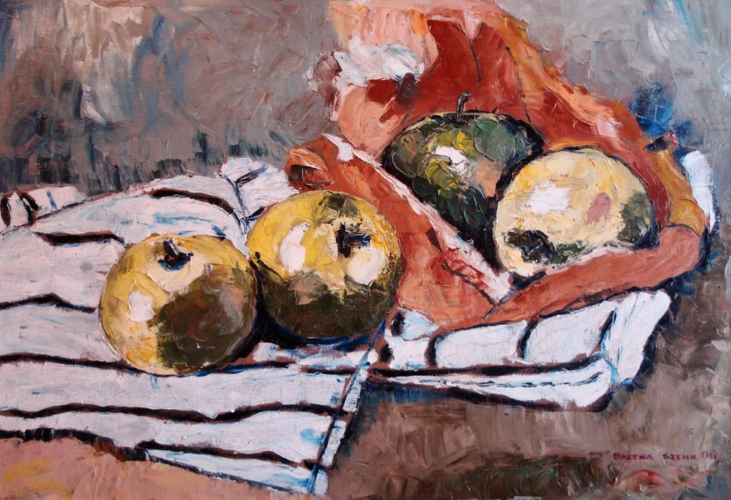 Martwa natura z jabłkami - obraz olejny Bożena Szenk