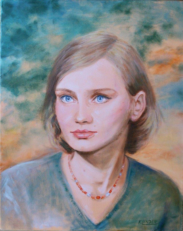 Portret - obraz olejny Krystyna Linder-Kopiecka