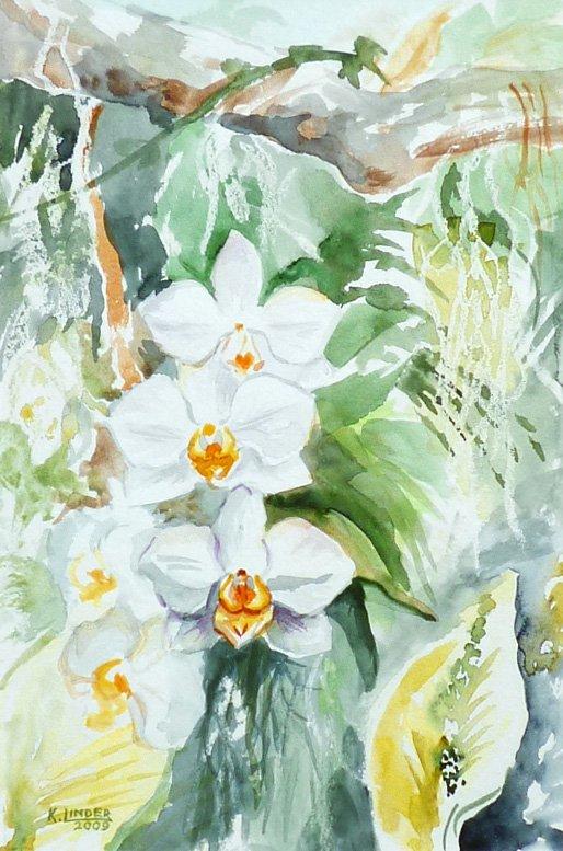 Storczyki - akwarela Krystyna Linder-Kopiecka