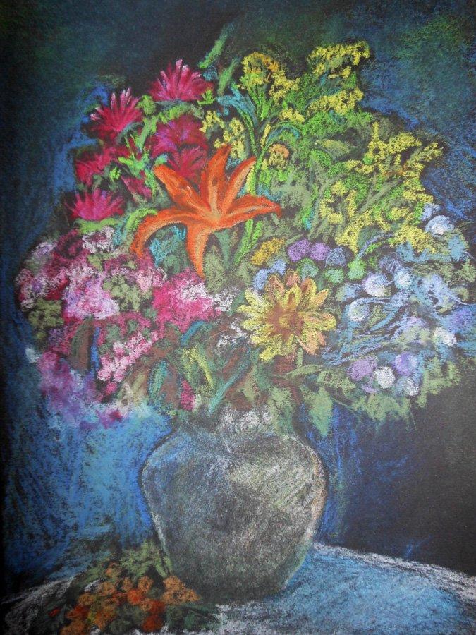 Wazon z kwiatami - pastel Iwona Łukanowska-Frankiewicz
