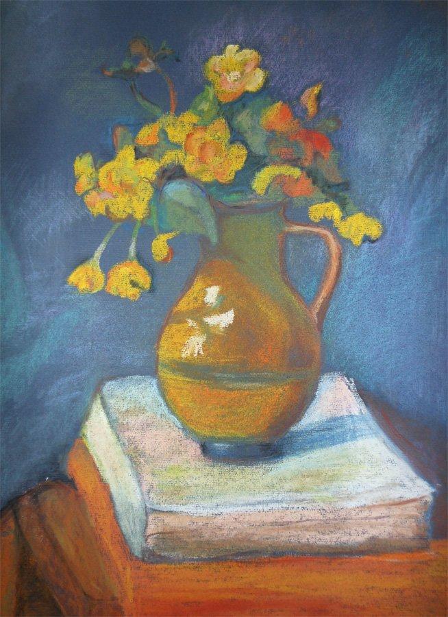 Żółte kwiaty w wazonie - pastel Iwona Łukanowska-Frankiewicz